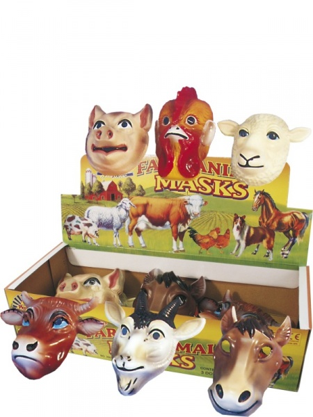 Plastic Farm Animal Masks - Halloween Store Prague