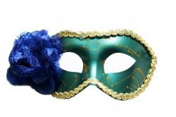 Blue Venetian Mask With Blue Flower