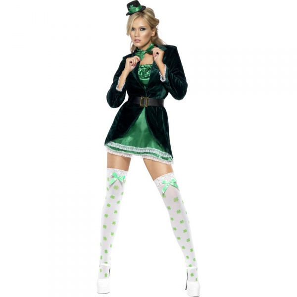 St patrick s day costume green with dress hat bow tie and panties